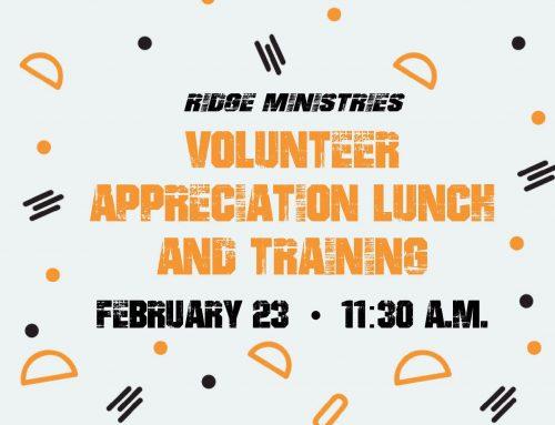 Ridge Ministries Volunteer Appreciation Lunch & Training – Coweta Campus