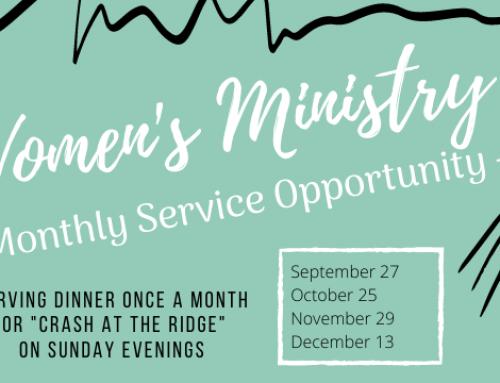 Women's Ministry – Serving Dinner for CRASH at the Ridge